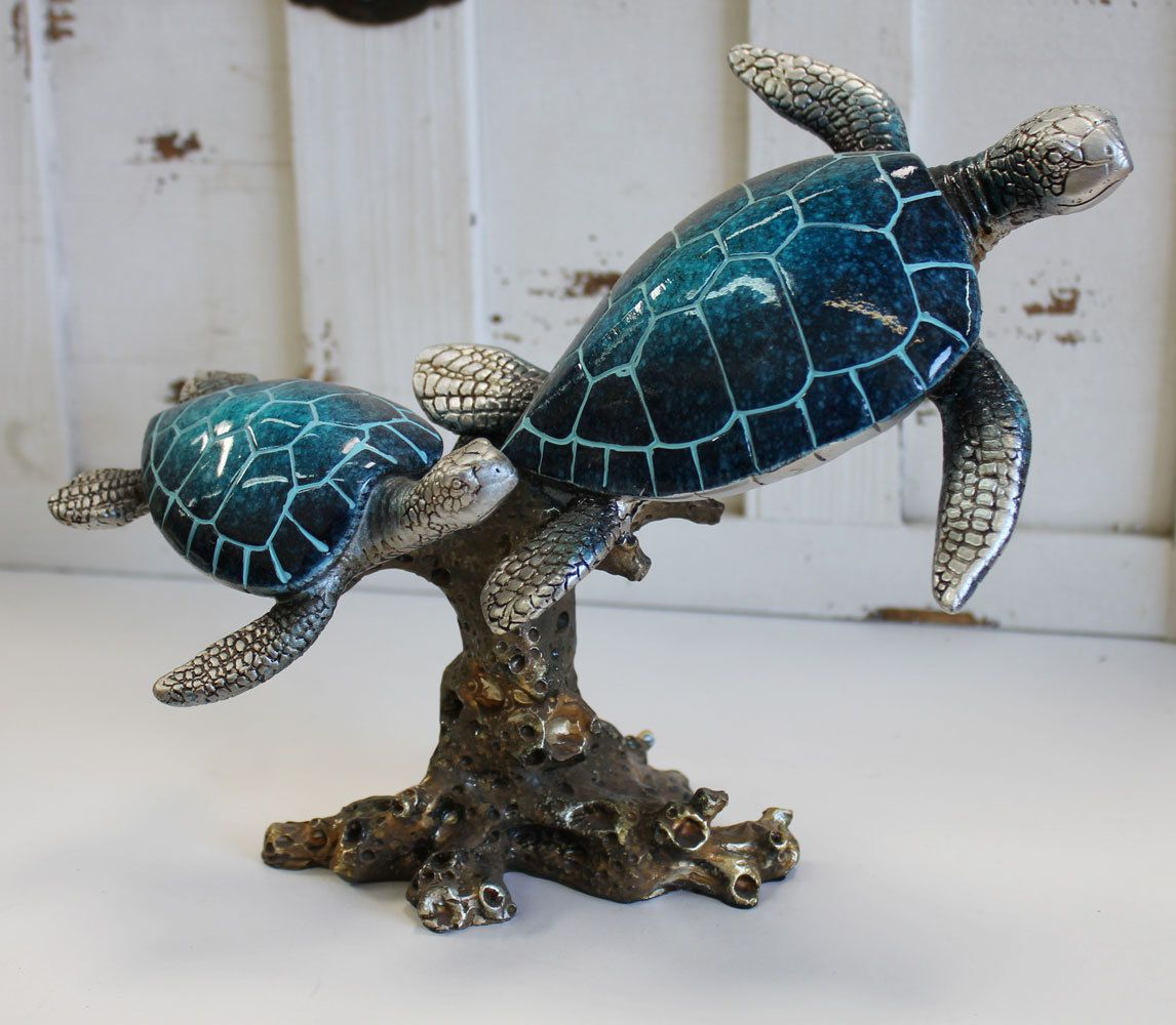 Large Double Blue Turtle With Seaweed Figurine Turtle Decor Sea Turtle Decor Turtle Figurines