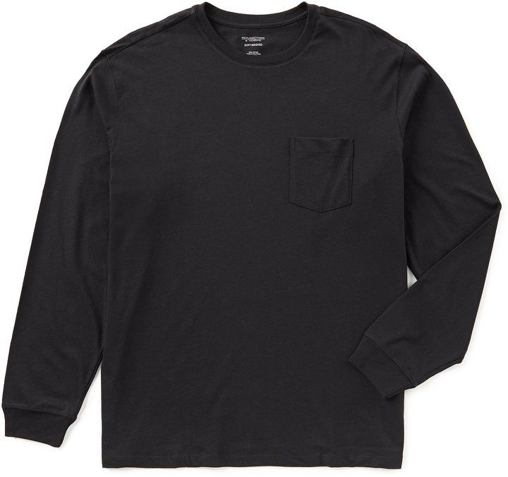 Roundtree & Yorke Soft Washed Long-Sleeve Solid Pocket Crew Tee