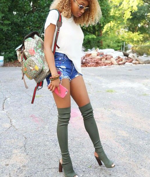 77b53c1654c shoes heels boots long thigh high boots backpack olive green knee high peep  toe suede boots knee high boots green bag