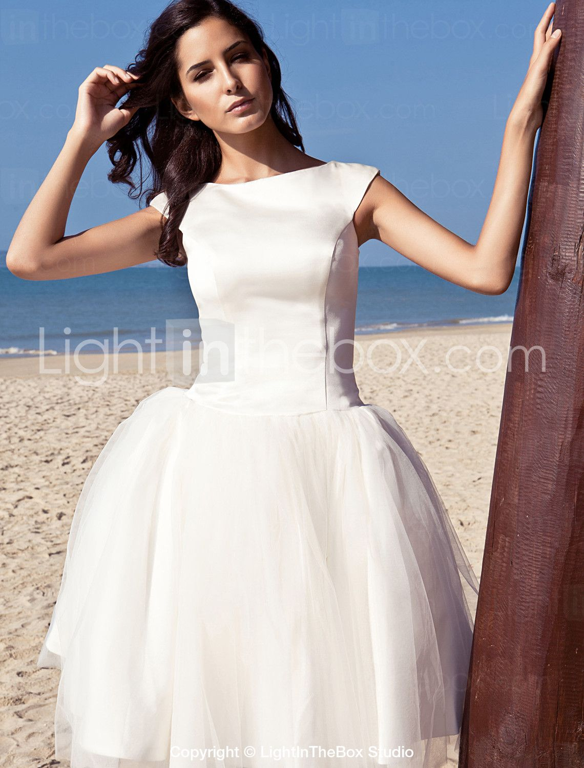 Princess bateau neck knee length satin tulle wedding dress with
