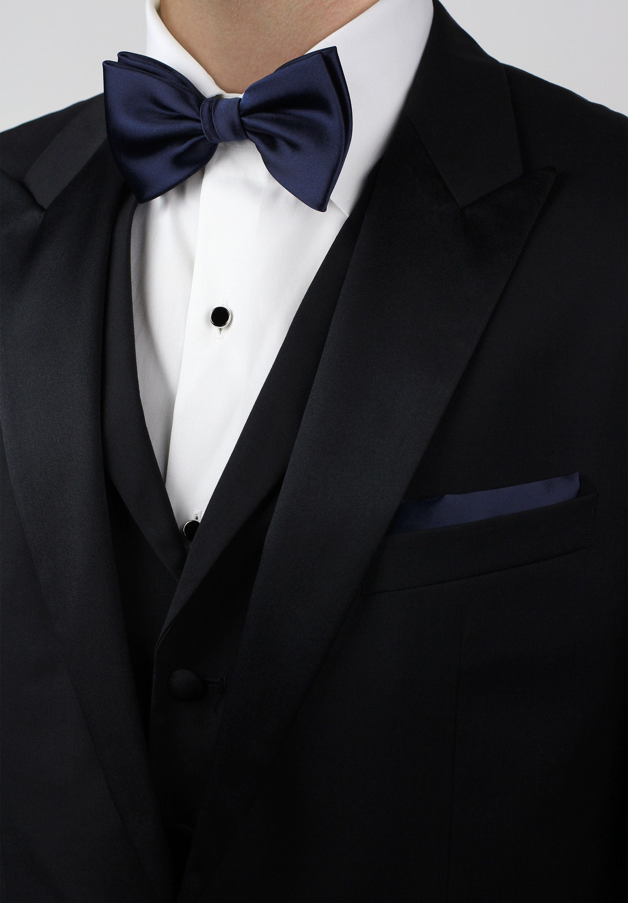07df4a0458e7 Mens formal attire - black tuxedo with midnight blue bow tie and pocket  square
