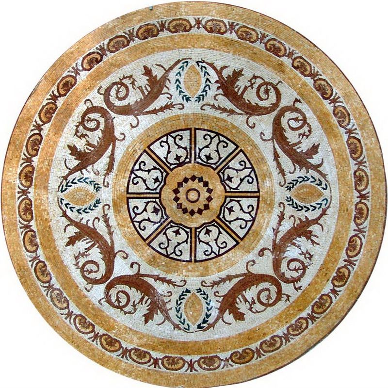 compass medallions stone pebbles gbtile mosaic rose collections tile medallion