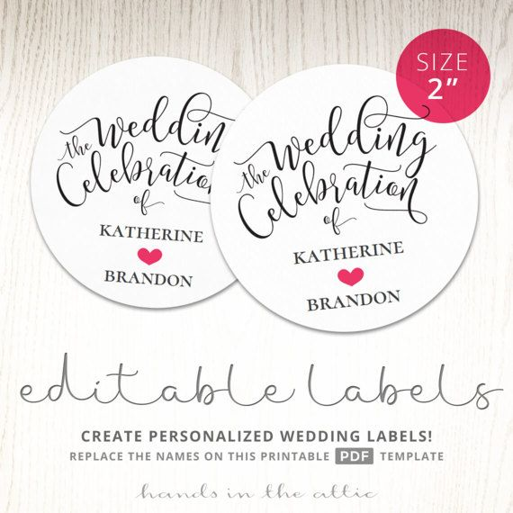 Wedding labels gift tags favor celebration personalized stickers - wedding labels template