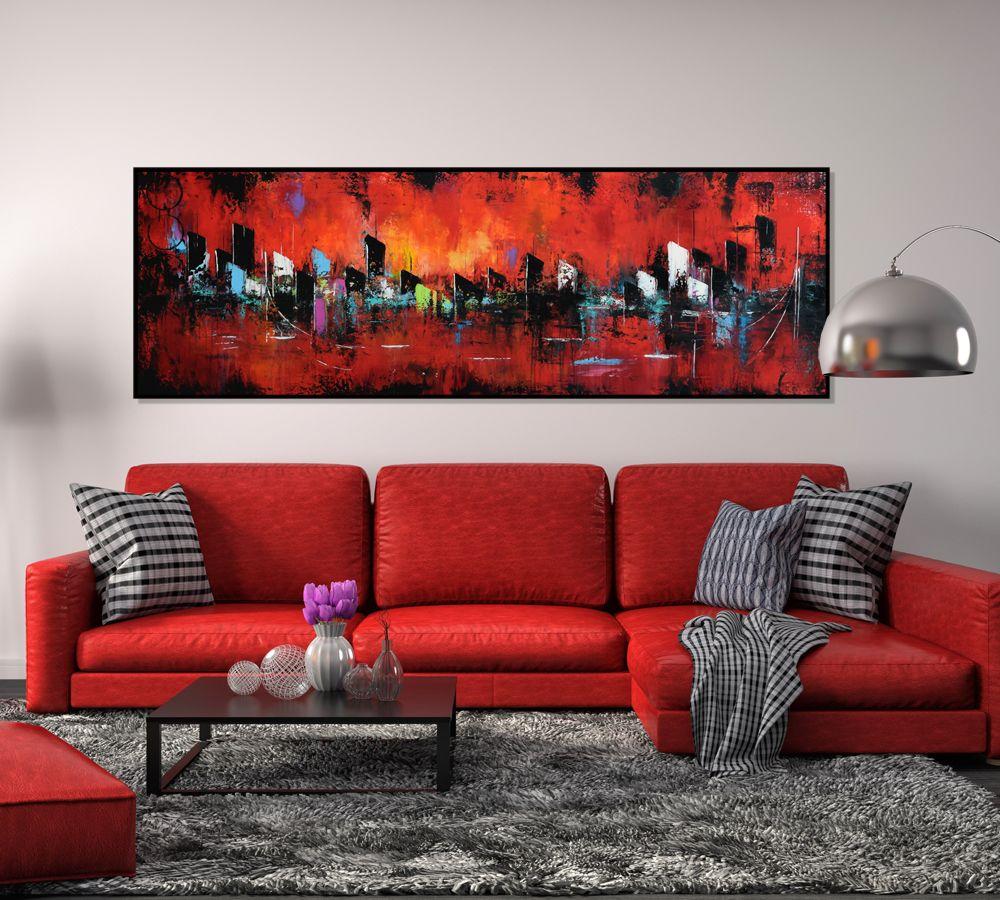Modern art home decor red wall art living room art