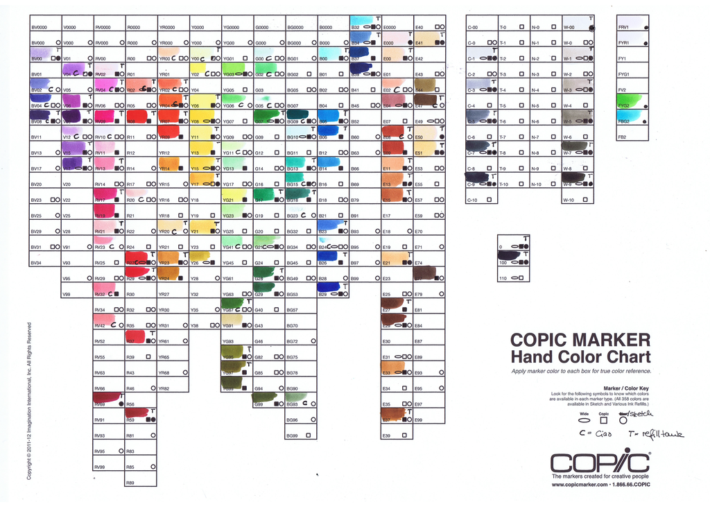 Copic Marker Color Chart By Pink Gizzy On Deviantart Copic