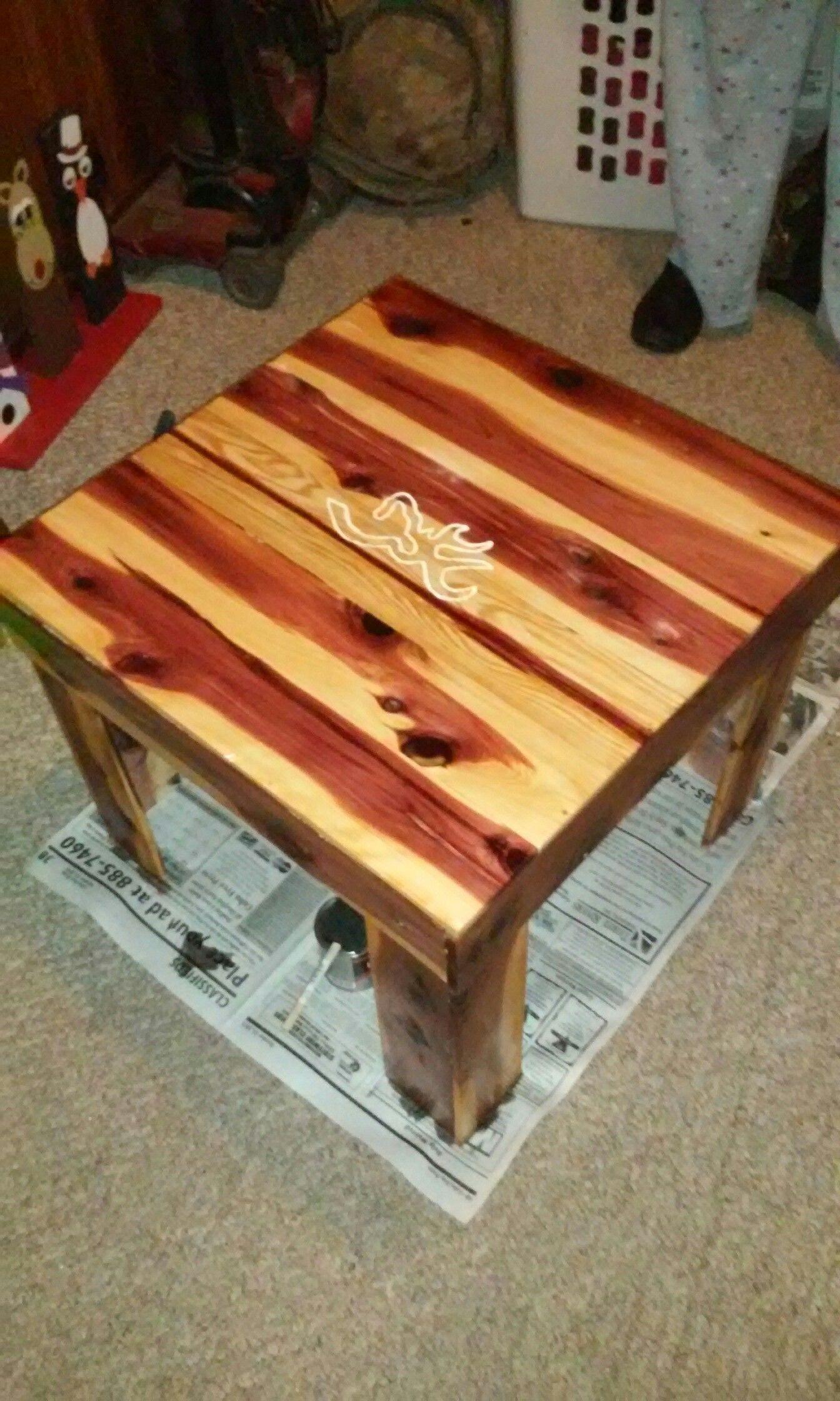 Eastern Red Cedar Browning Buckmark End Table Custom Built For A Customer Cedar Furniture Wooden Coffee Table Build A Farmhouse Table