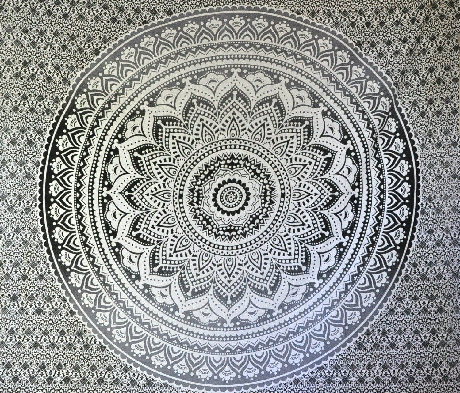 Amazoncom Exclusive Black And White Ombre Tapestry By Jaipurhandloom Mandala