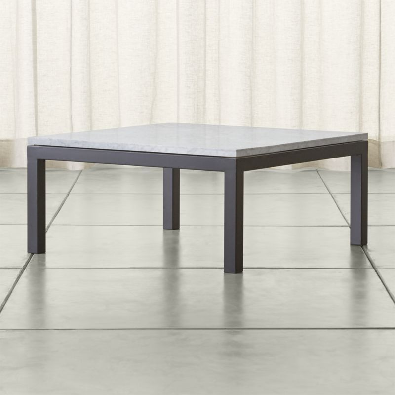 Shop Parsons White Marble Top Dark Steel Base 36x36 Square Coffee