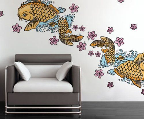 Painted Koi Wall Stickers by Wall Sticker Shop Signature. $55.00. Wall Sticker Shop Signature. These beautiful painted koi wall stickers are a great addition to any space.What you get:2, 32x18 inch Koi decals14, 4 inch cherry blossom decals18, 2.5 inch cherry blossom decals34 decals per package