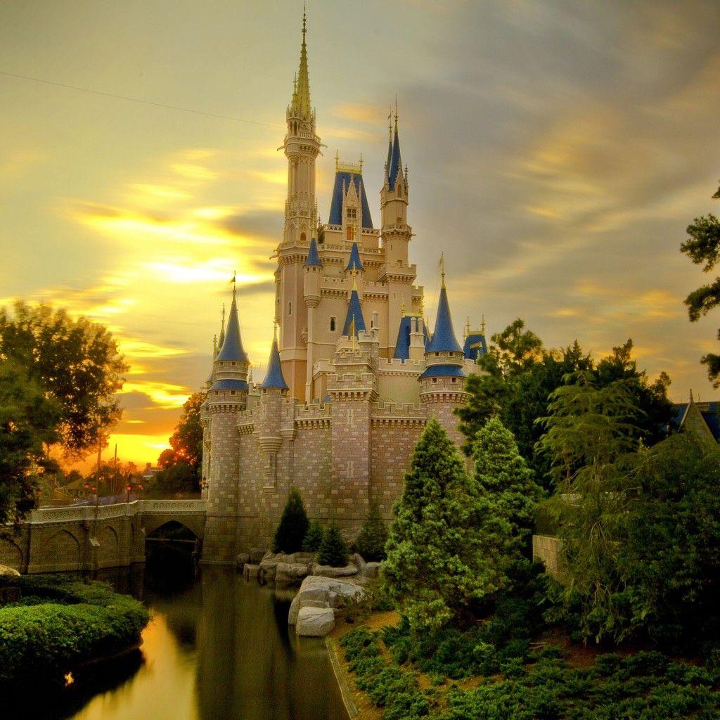 Sunset Over Cinderella's Castle iPad Wallpaper Fantasy