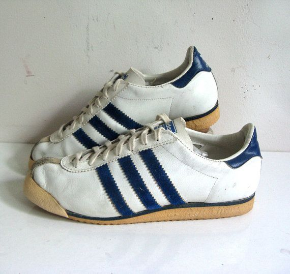 Vintage 1970s ADIDAS ROM Sneakers White Blue Stripe Sport Shoes Womens US 9