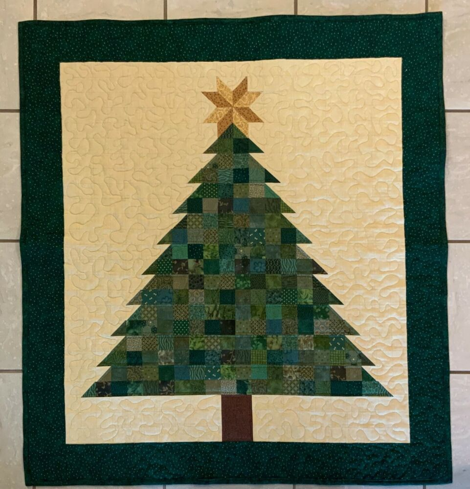 Christmas Tree Quilt Kit Large With Border Maywood Studio Moda In 2020 Christmas Tree Quilt Christmas Tree Quilt Pattern Tree Quilt Pattern