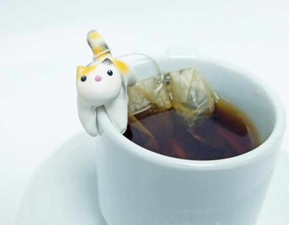 Tabby Cat Tea Bag Holder C - Cute Cat Tea Pot Teabag Holder - Cup friends - Mug Decor - Bowl Decor #teamugs