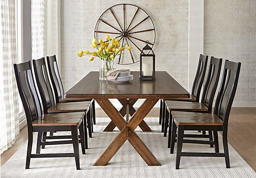 Twin Lakes Brown 5 Pc 72 In Rectangle Dining Room Affordable Dining Room Sets Farmhouse Dining Room Table Modern Farmhouse Dining