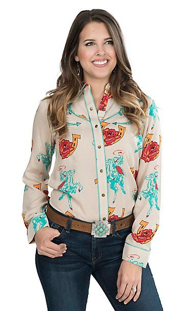 313bcd6e085 Wrangler with Rodeo Quincy Women s Tan with Rose and Horseshoe Print Long  Sleeve Retro Snap Shirt