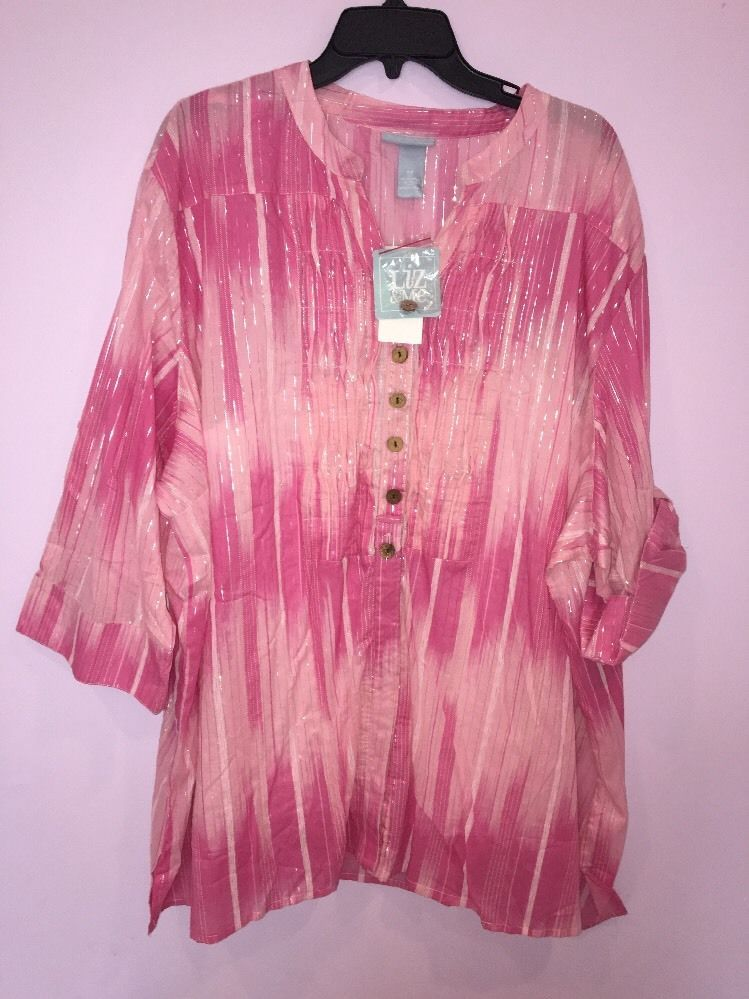 18a71f461b8210 LIZ & ME WOMEN'S PINK METALLIC 3/4 SLEEVE BUTTON DOWN SHIRT & TANK PLUS 4X  NWT #LizMebyCatherines #ButtonDownShirtTank #CasualCareer