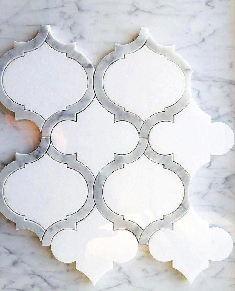 White Thassos and Bianco Carrara Marble Waterjet Mosaic Tile in Arabesque Marrakech