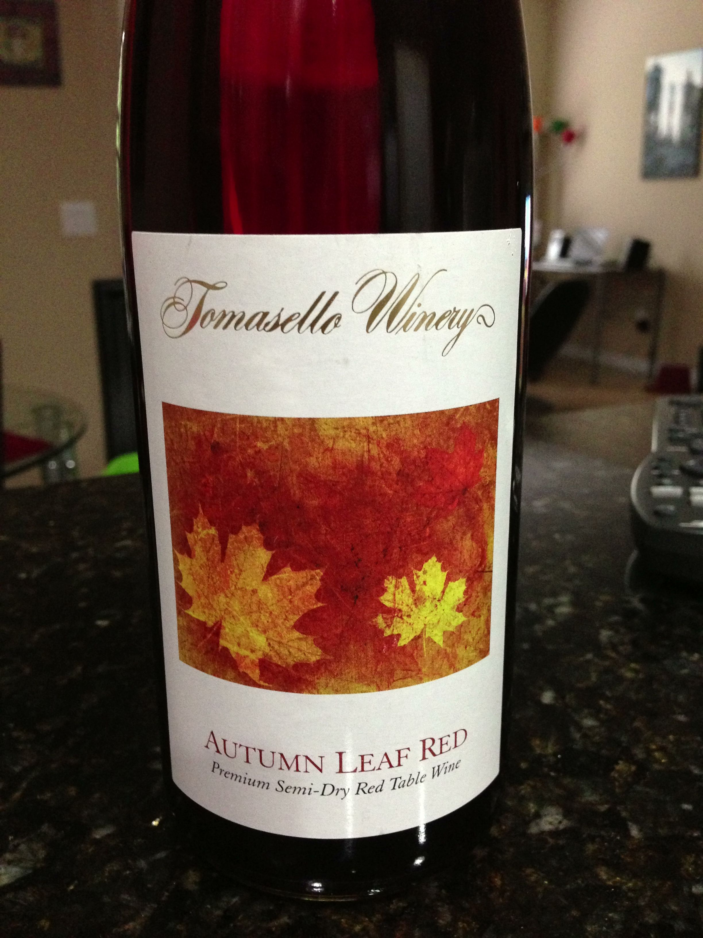 From Tomasello Winery Autumn Leaf Red A Premium Semi Dry Red Table Wine Summertime Drinks Winery Red Table