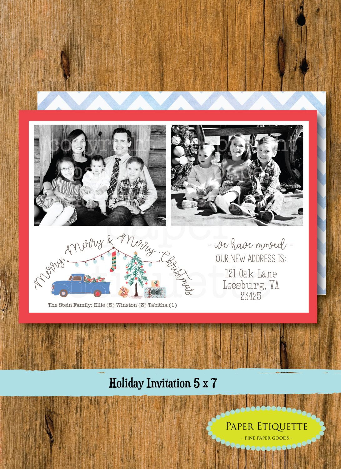 Christmas Watercolor Retro Truck Holiday Card - Holiday Two Photo ...