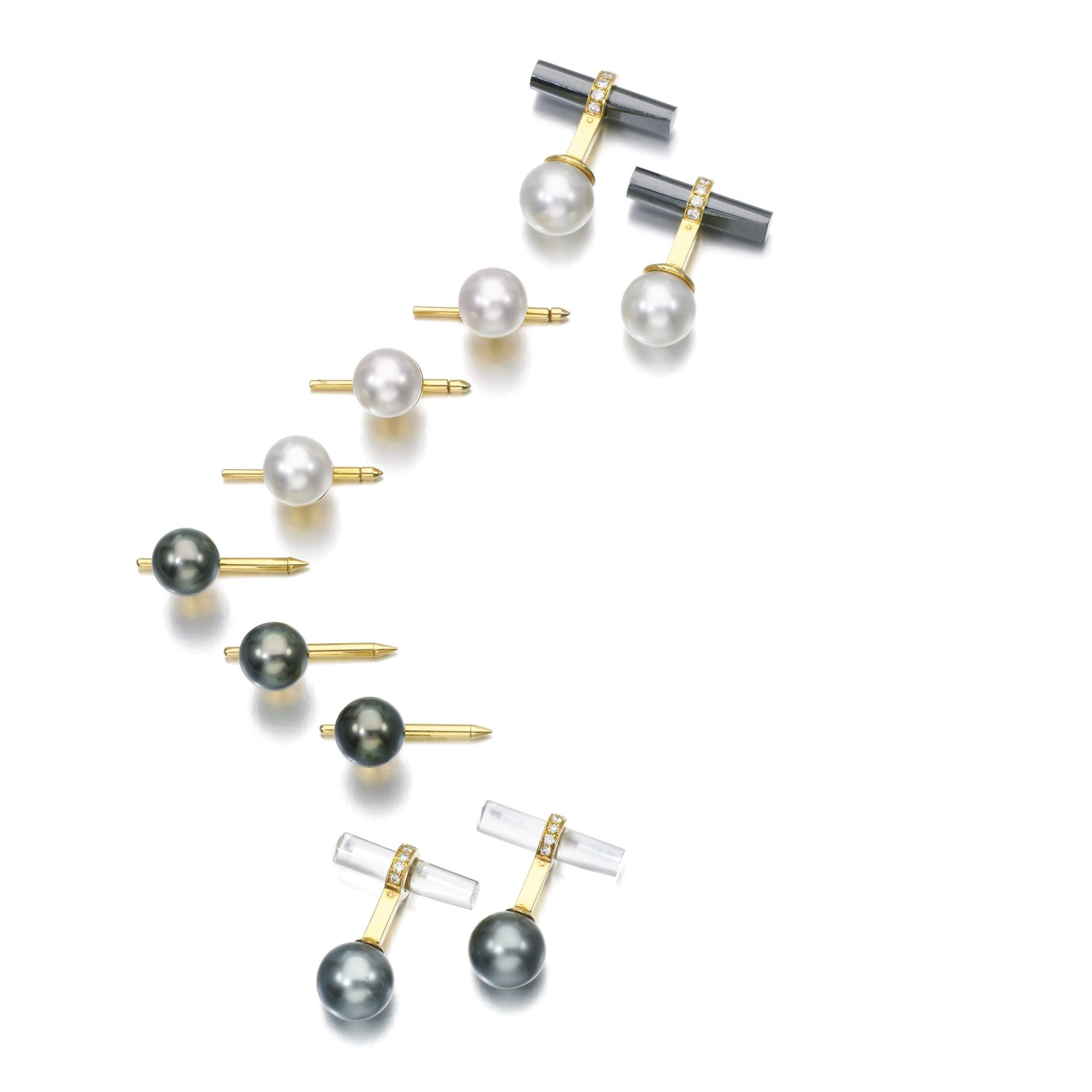 Collection of Gentleman's cultured pearl and diamond dress accessories | lot | Sotheby's