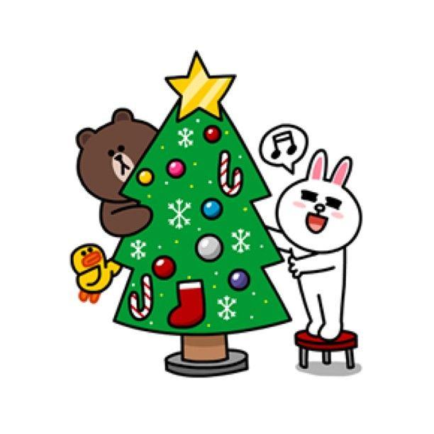 Christmas Tree Brown Cony Line Sticker Cony Brown Line Friends