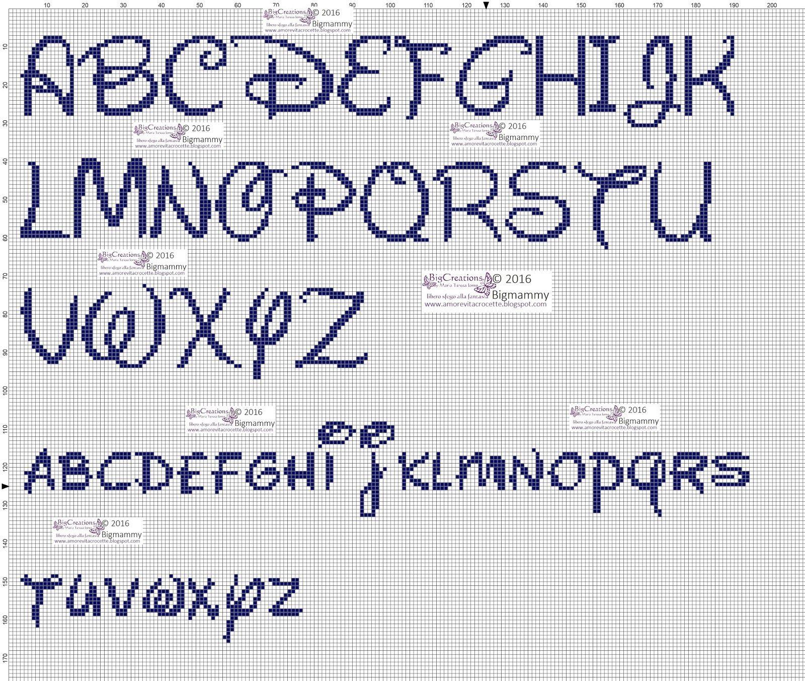 Amorevitacrocette alfabeti disney a punto croce punto for Ricamo punto croce lettere