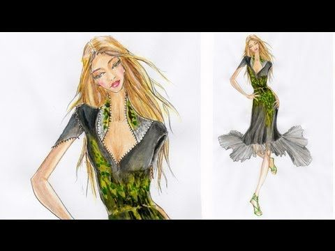DRESS with PLEATED SKIRT: Painting a pattern of abstract leaves