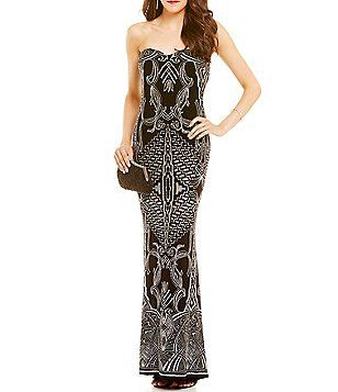 4b13beb228d Jump Glitter-Accented Patterned Slinky Strapless Long Dress