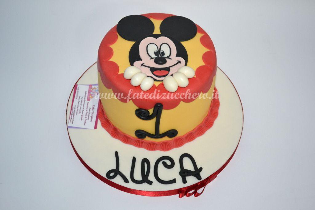 Torta Topolino: con topper 2D, numero e nome interamente modellati a mano, senza stampi