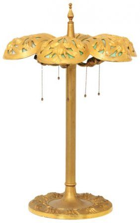 Gilt Bronze 6 Panel Iris Table Lamp