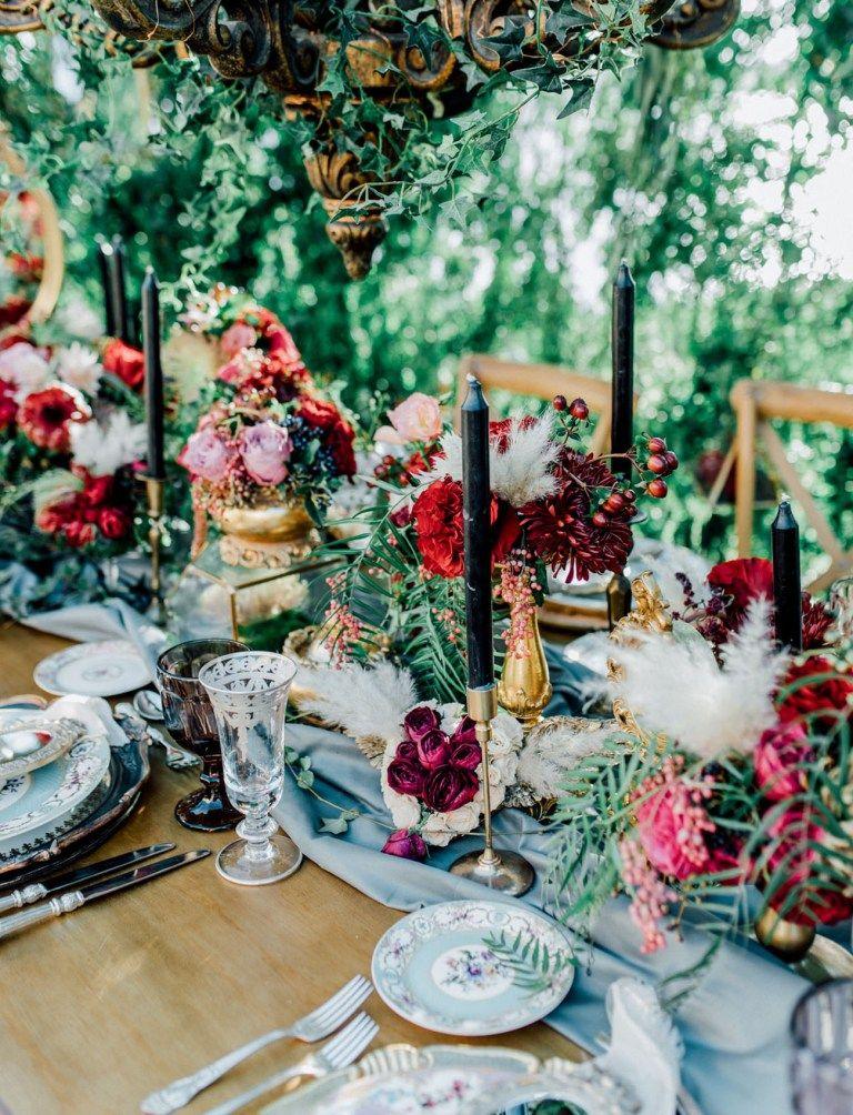 Secret Garden Wedding Inspiration With a Flower-Studded Dusty Blue Dress