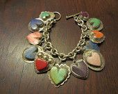 Joan Slifka Heart Charm Bracelet with Turquoise, Spiny Oyster, Lapis and Charms on the  Sterling Backs
