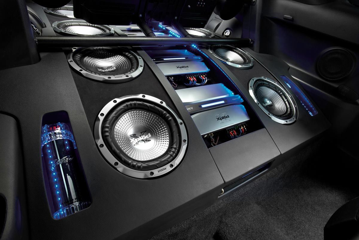 sound system car. interior car sound system photography of customized speakers and base e
