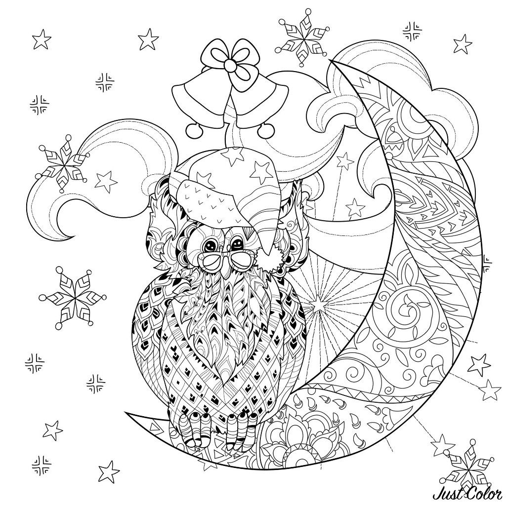 Christmas Owl On A Moon Coloring Page Moon Coloring Pages Anti Stress Coloring Book Stress Coloring Book