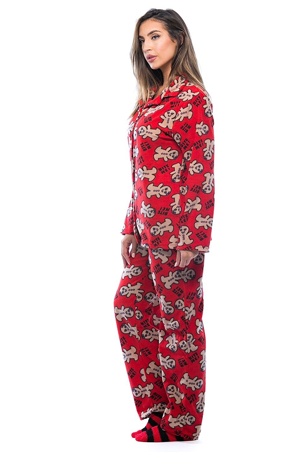 00805a8ae6 Printed Microfleece Button Front PJ Pant Set With Socks - Red - Bite ...