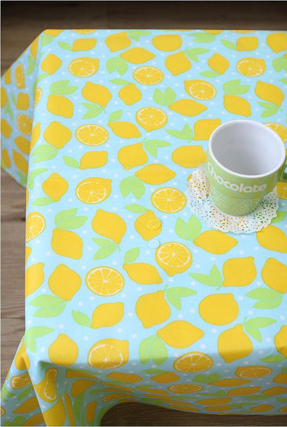 Waterproof Fabric Lemons On Blue By The Yard 39426 Waterproof