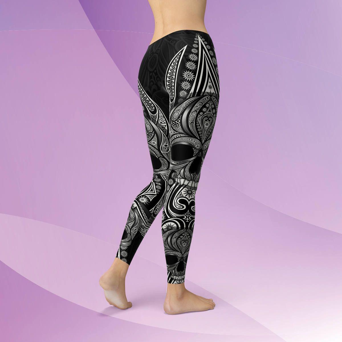 Yoga Leggings Black Sports Pants Mermaid Printed Dance Lightweight Bottoms