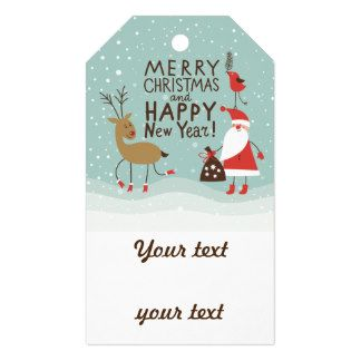 merry christmas happy new year jule celebration pack of gift tags