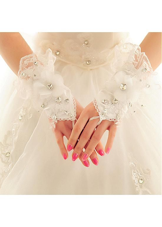 In Stock Charming Satin & Lace White Wrist Length Wedding Gloves With Rhinestones