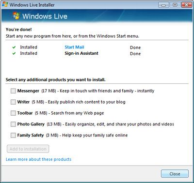 windows live mail installed with sign in assistant windows live