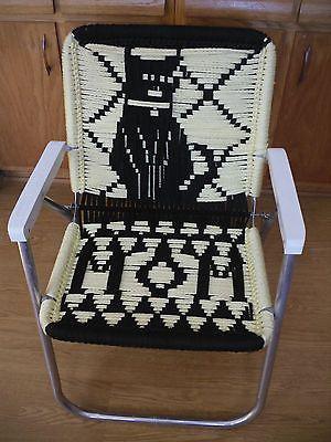Vintage Aluminum Macrame Folding Woven Webbed Lawn Chair