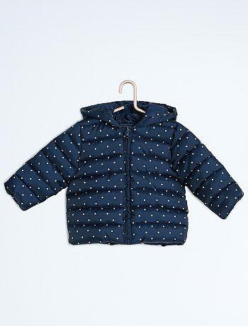 Donsjack met een capuchon met een stippenprint BLEU Meisjes babykleding - Kiabi