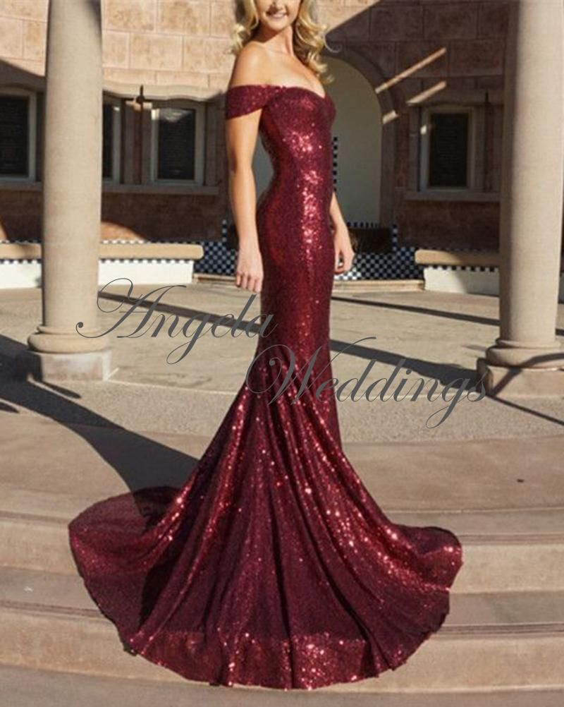 Shining sequined prom dresses mermaid long evening gown long
