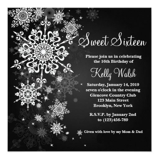 Snowflakes Sweet 16 Winter Wonderland Invitation Sweet 16