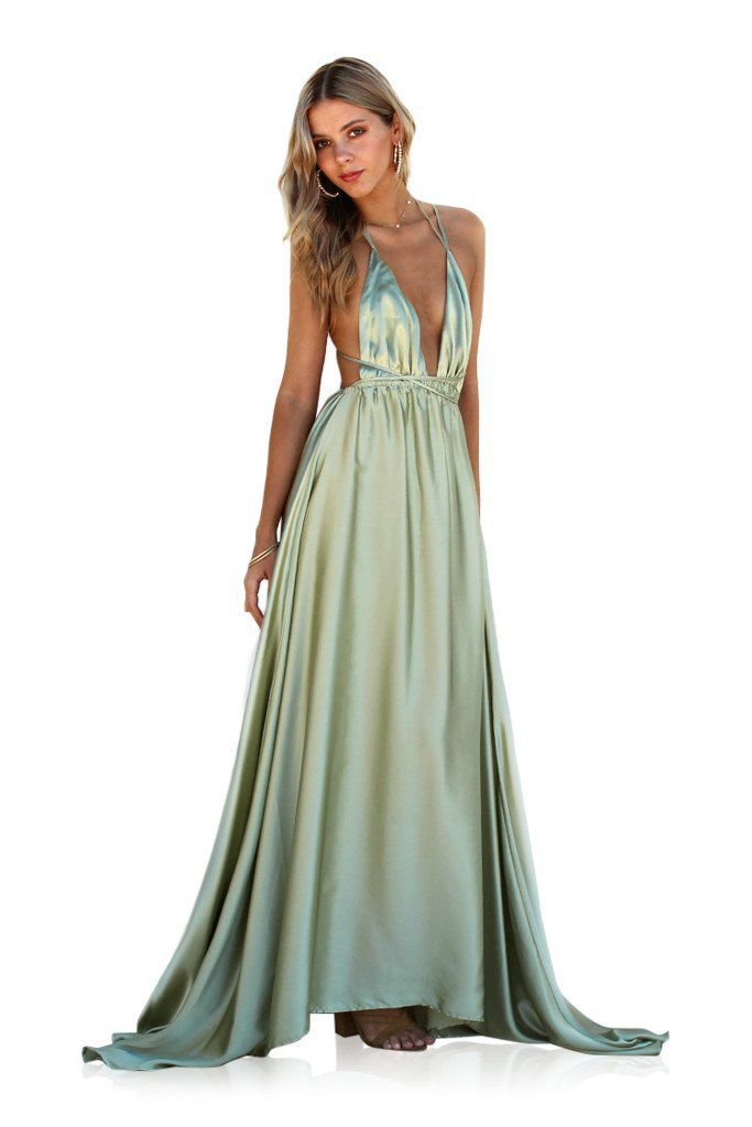 Satin silk sage - double strap gown | Satin, Gowns and Sage