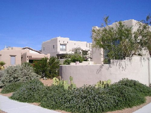 Abq West Mesa residence - front to N, Trailing Rosemary, Sand Sage, Desert Prickly Pear (QUERCUS, 1998)