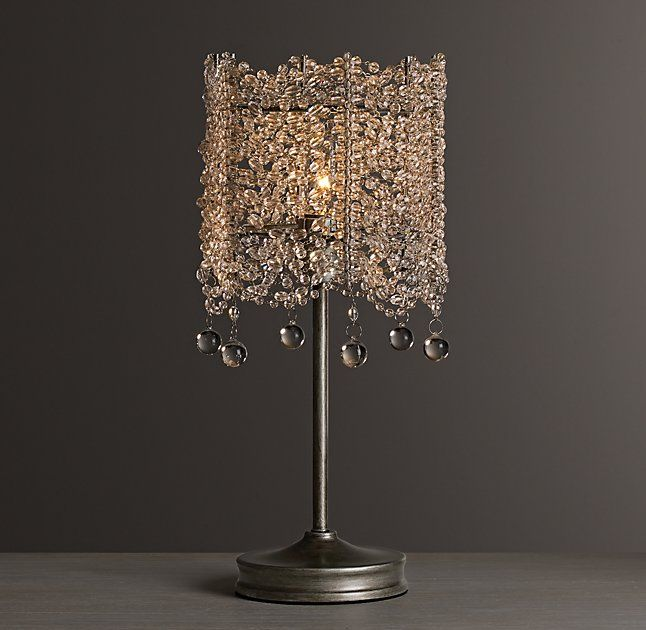 Rh baby s coco crystal table lampdraped strands of faceted crystals form a