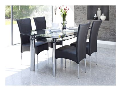 Boat Fixed Dining Table And 4 Black Chairs Dining Room