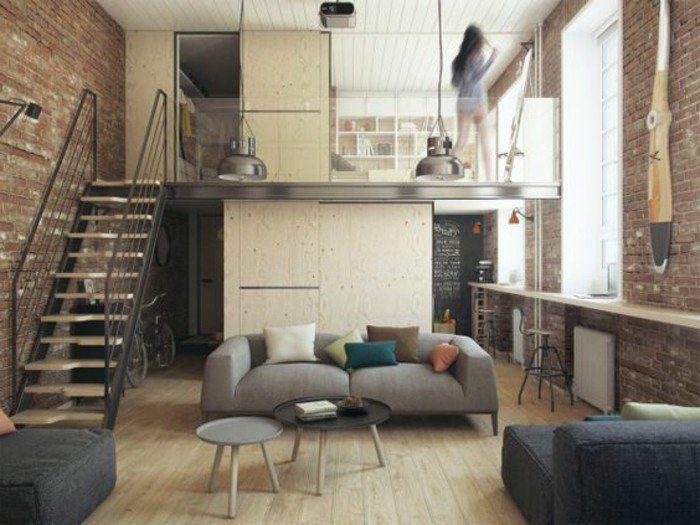 mur en briques rouges, escalier d'intérieur, meubles dans le petit salon