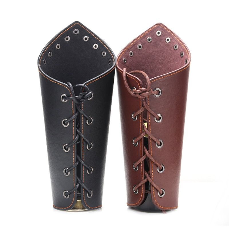 NEW PU Leather Bracer Cross String Arm Armor Punk Armband Medieval Cuff 2 Color